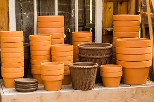 Clay planters for gardening