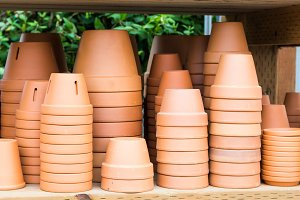Stacks of clay planters for garden