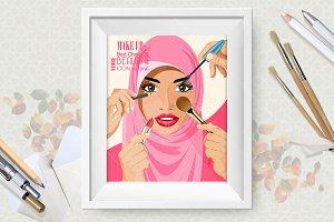 Arabic vector girl and make up