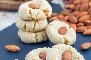 Healthy homemade almond cookies without butter and flour , vertical