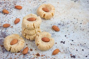 Healthy homemade almond cookies without butter and flour, copy space
