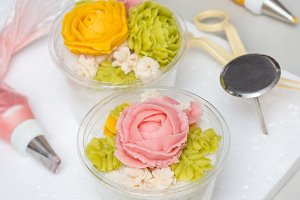 Tteok, korean rice flour steamed cake with bean paste decoration