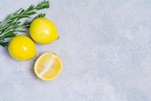 Fresh lemons and rosemary