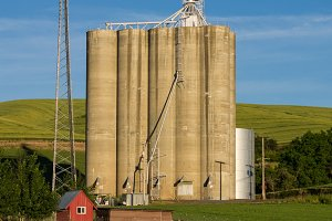 Grain elevator and concrete silos