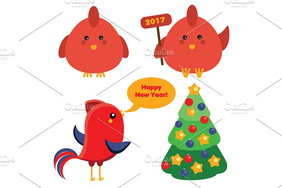 Cute red roosters. 2017 symbol