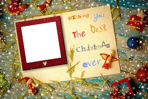 Christmas photo frame postcard