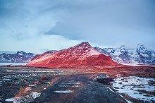 Icelandic sunset/Road to mountains