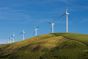 Rural wind farm with turbines