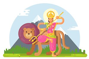 Illustration of indian goddess durga