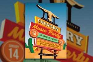 Country Music Event Street Sign