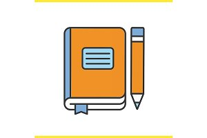 Diary notebook with pencil. Vector