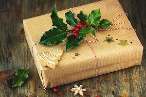 Christmas gift box, vintage