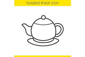 Teapot linear icon. Vector