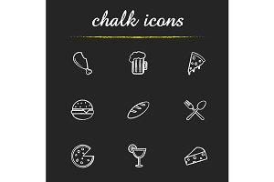 Food and drinks. 9 icons. Vector