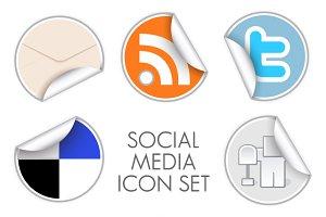 Social Media Icon set - round stickers