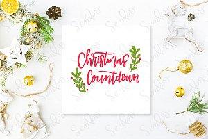 Cute vintage christmas PSD mockup