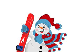 Snowman with snowboard, vector