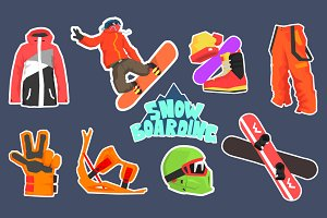 Snowboarding Icon Set