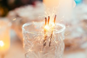 Sparklers in a glass
