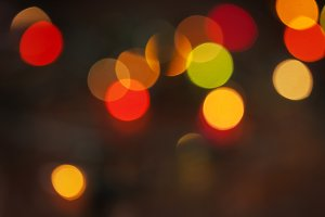Christmas card with bokeh lights