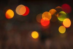 Christmas card with bokeh lights