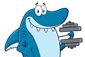 Smiling Blue Shark With Dumbbells