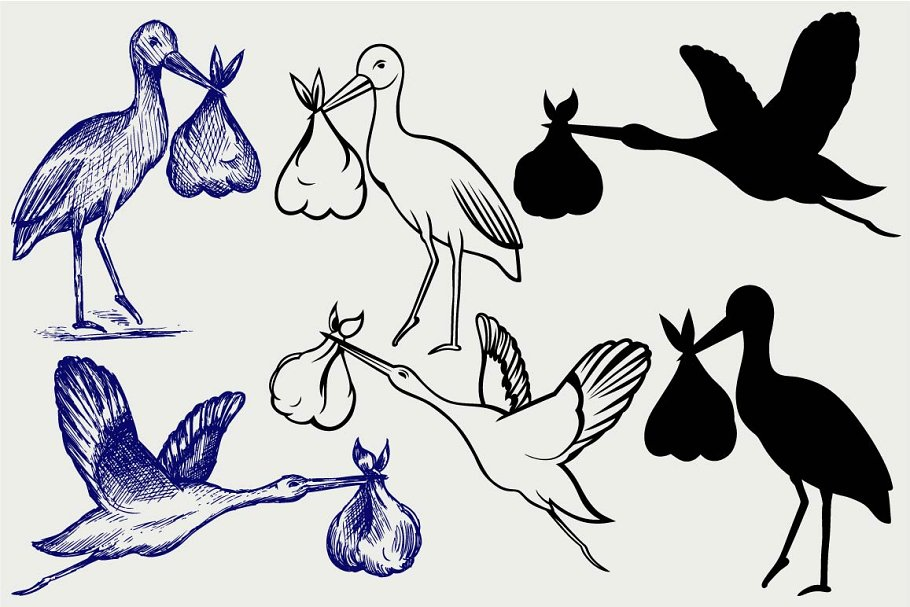 Stork and baby SVG