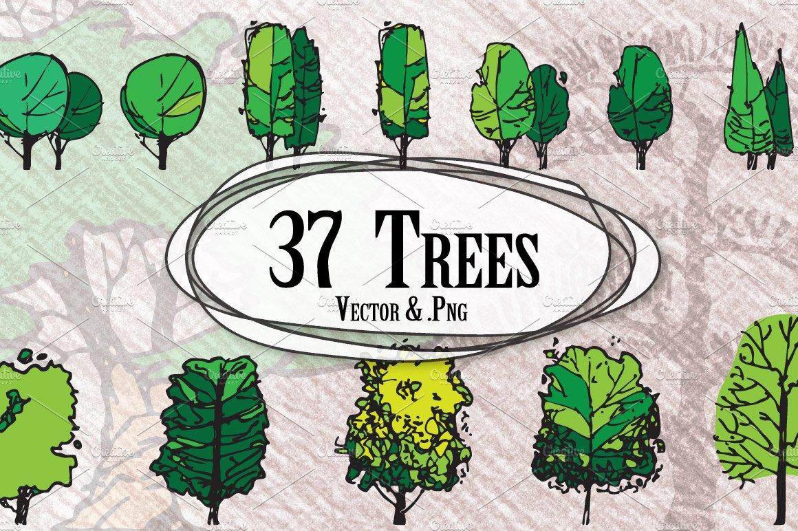 Trees In Elevation Illustrations Creative Market