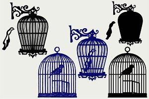 Birdcage and bird SVG