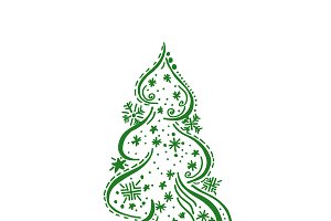 Christmas tree, sketch, vector