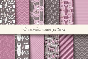 Seamless pink and grey pattern