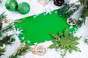 Christmas background with decorations Top view and copy space