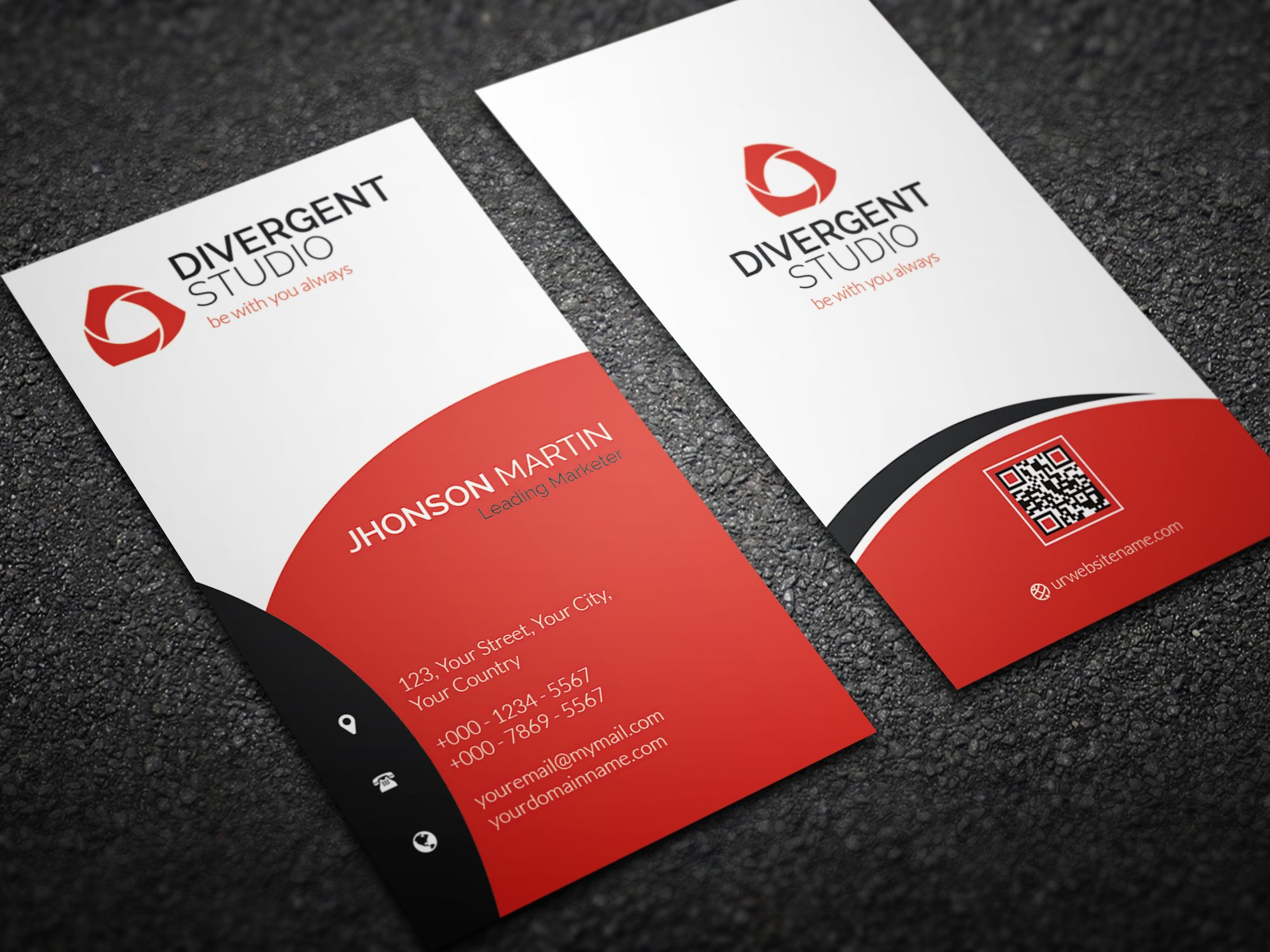 Simple vertical business card business card templates creative simple vertical business card business card templates creative market reheart Images