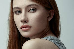 Beauty portrait of red-haired model.