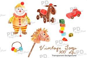 Watercolor Vintage Toys Clipart