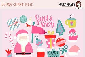 Santa Baby Clipart PNG Bright
