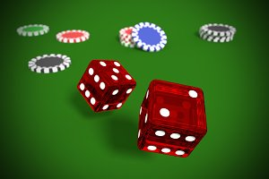rolling dices and casino chips