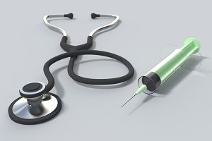 stethoscope and syringe