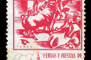 Bullfighting Postage Stamp
