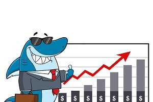 Business Shark With A Growth Chart