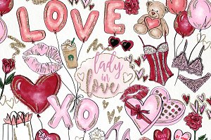Valentine's Day Watercolor Clip Art