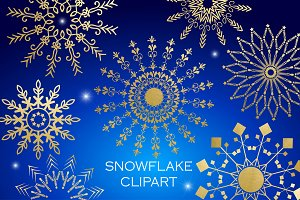 Snowflake Clipart - White Gold Blue