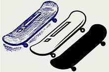 Several skateboards