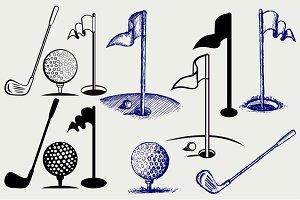 Golf icon set SVG