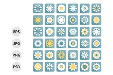 Set of flower flat icons