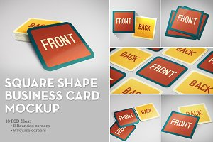 Square Shape Business Card Mockup