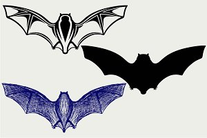 Bat in flight SVG