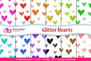 Glitter Hearts digital paper