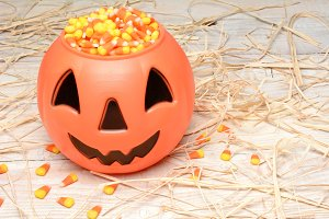 Plastic Pumpkin Candy Corn Straw