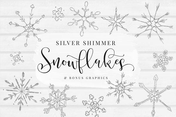 Silver Shimmer Snowflakes + BONUS